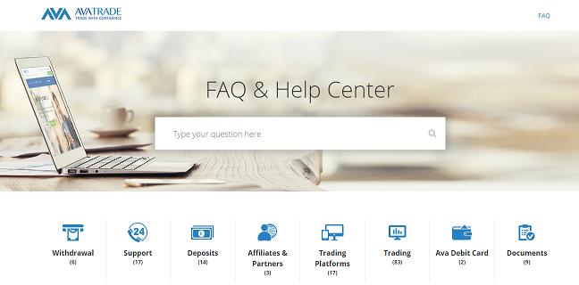 AVATrade FAQ & Help center page
