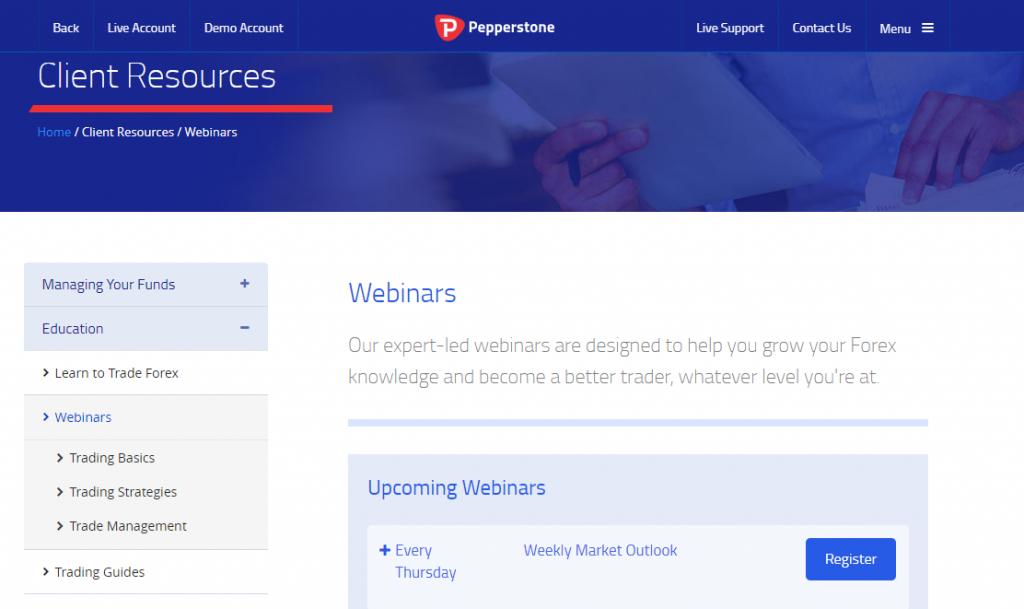 Pepperstone webinars